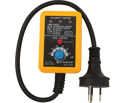 NEW 2018 Cabac Power Point Tester Socket Polarity Earth Leakage RCD TEL1TLV2
