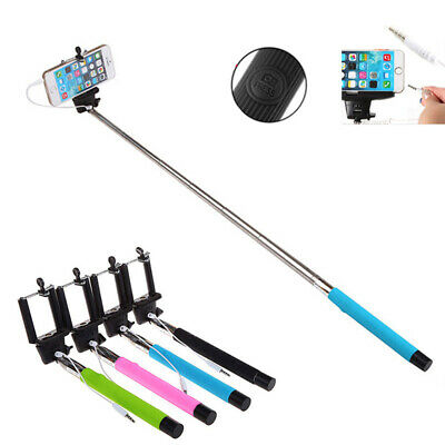 100CM Extendable Handheld Selfie Stick  3.5mm Cable Wired For Android IOS Phone