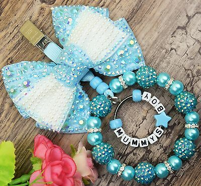 Personalised stunning pram charm in turquoise for baby boys girls