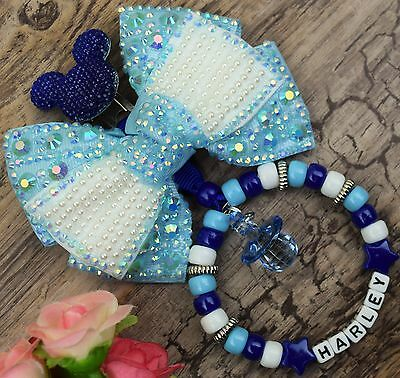 Personalised stunning pram charm in turquoise royal for baby boys girls