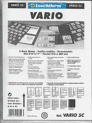 New Vario Stock Sheets 5C One-Sided Five Horizontal Pockets Clear Pkg. 5