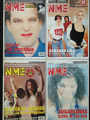 "N.M.E SET OF 4 ORIGINAL UNUSED POSTCARDS feat...CURE, PWEI, SUGARCUBES # 11""x 9"""