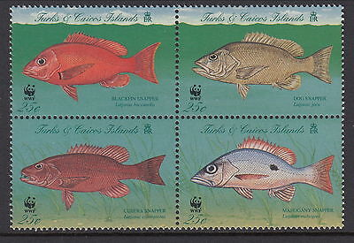 Turks & Caicos Islands 1998 WWF Snapper block of 4