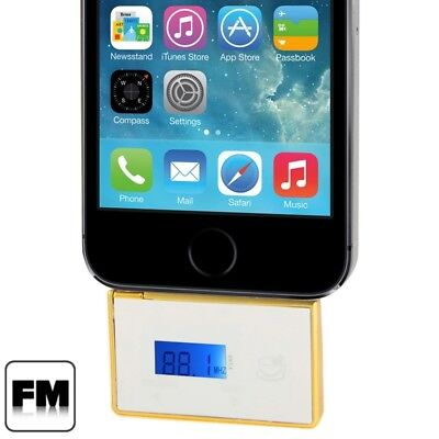TECH White 2 in 1 3.5mm Jack Car FM Transmitter / Car Handsfree for iPhone 5 &
