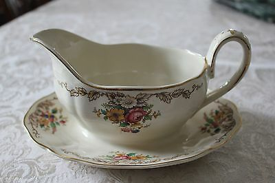 Grindley Royal Petal Marlborough Gravy Boat with Attached Underplate