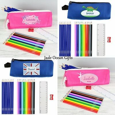 Personalised Childrens Pencil Case & Pencil Set Ruler School Stationery Gift