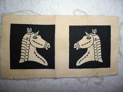 Scarce 20th Armoured Brigade (Home Forces) Uncut WW2 Printed Patch Pair