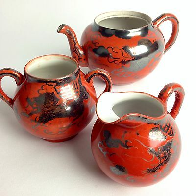 Antique Japanese Tea Set Satsuma Silver Dragon Design 3 Pieces Orange