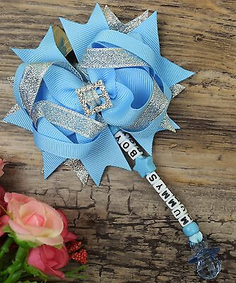 Personalised stunning pram charm in baby blue for baby girls boys