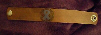 "#BR8 RIBBON STAMPED LEATHER  BRACELET 1""wide 1 snap DYED TOP & SIDES"