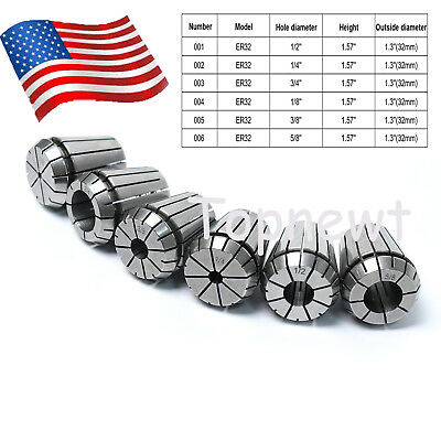 "6Pc ER32 Precision Spring Collet Chuck Set 1/2'' 1/4'' 3/4''1/8'' 3/8"" 5/8'' US"