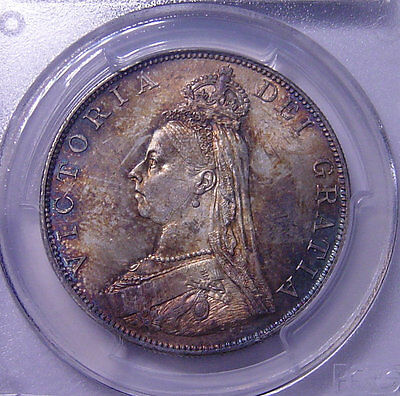 GREAT BRITAIN Double Florin 1887 SILVER PCGS MS64 Rainbow Toned Nice coin