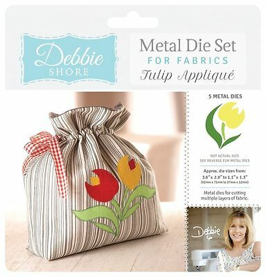 Debbie Shore Deep Dish Fabric Craft Tulip Applique Metal Die Stencil Set