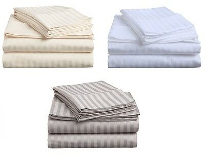 Egyption Cotton Bed Sheet Set. King or Queen. Striped. 4 Pieces