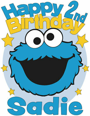 Personalized Cookie Monster from Sesame Street Birthday T-Shirt