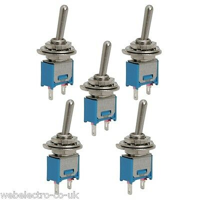 09004 5x Miniature Toggle Small Switch SPST ON-OFF 2 Terminals 1A 250VAC