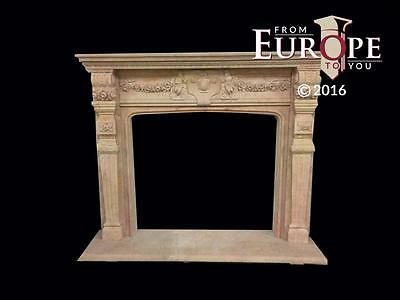 Beautiful Hand Carved Marble Estate Fireplace Mantel - Jd601
