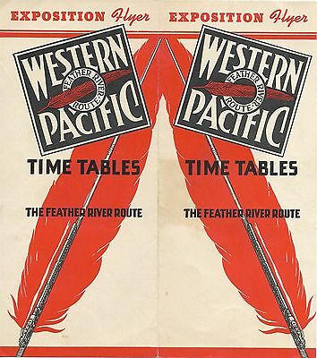 1942 Western Pacific EXPOSITION FLYER Timetables Feather River Route Schedules