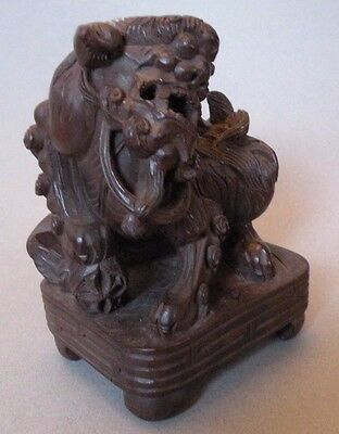 75c-T ANTIQUE LATE QING CHINESE CARVED WOOD STATUE OF FOO DOG, SUPERB QUALITY
