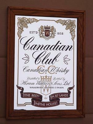 Canadian Club Whisky Mirror Bar Man Cave Sign Light Wood Frame Advertising