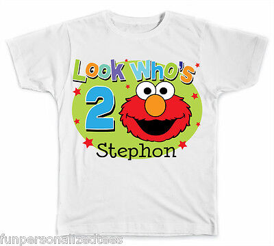Personalized Look Who's Birthday with Elmo T-Shirt