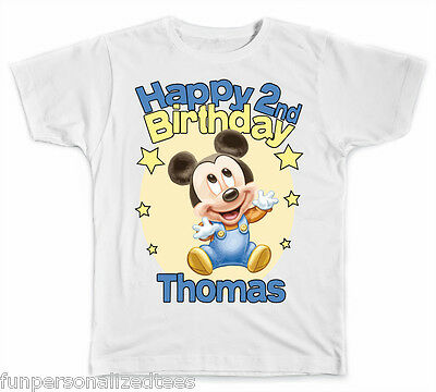 Personalized Disney Baby Mickey Mouse  Birthday T-Shirt