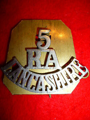 5 / RA / LANCASHIRE White Metal Shoulder Title Badge, Genuine