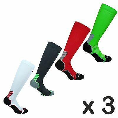 3 x Mens Compression Running / Cycling / Football / Long Socks -Bekele