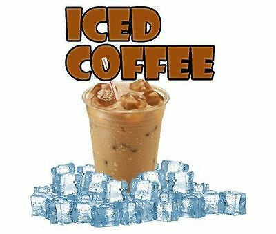 Ice Coffee with Wording 9'' Vinyl Food Decal for Coffee Shop or Wagon Truck Sign