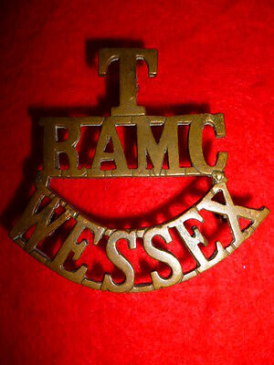 T/RAMC/WESSEX Brass Shoulder Title Badge, Westlake # 436