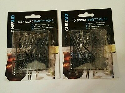 Two Packs of 40 Cocktail Picks - Sword Drink Decoration Pirate Party (M2)
