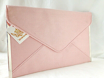 New Powder Baby Pale Pink Faux Suede Evening Day Clutch Bag Envelope Wedding Pro
