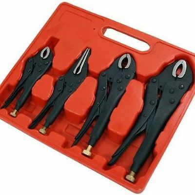 Heavy Duty Black 4Pc Self Locking Pliers Adjustable Wrench Quick Release Grips