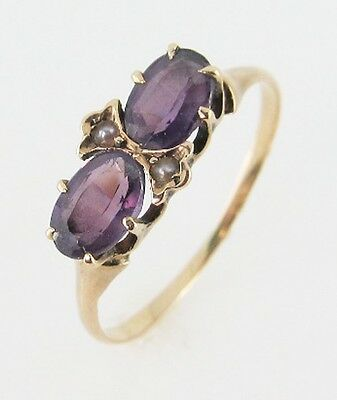 Fine Vintage Victorian AMETHYST Seed Pearl 10K ROSE GOLD Jewelry Engagement Ring