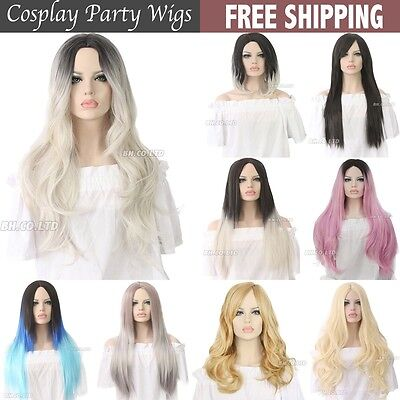 UK Ship Women Lady Long Curly Synthetic Hair Black Brown Ombre Grey Wigs Costume