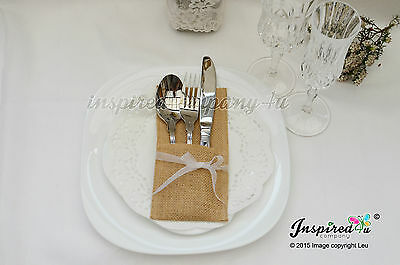 Wedding Hessian Burlap Cutlery Holders Table Set Up Organza Ribbon Shabby Chic
