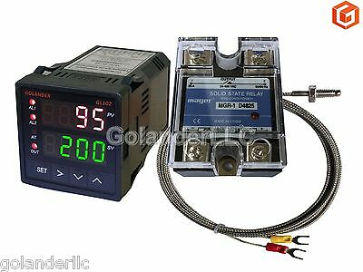 Dual Display Digital PID F/C Temperature Controller + K Thermocouple + 25A SSR
