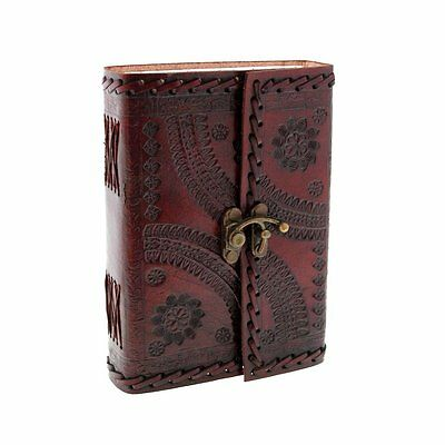 Large Leather Diary fair trade Embossed clasp lock Journal Handmade organiser