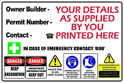 Owner Builder Corflute Sign Safety Building Site 600Mm X 450Mm - 3Mm Offer