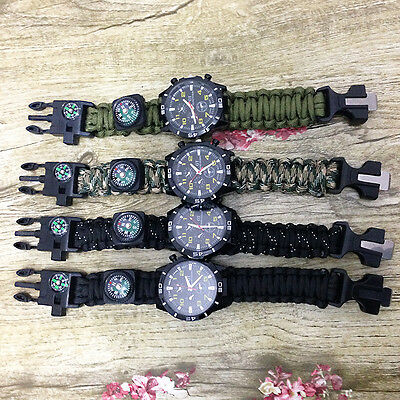 Survival Bracelet Paracord Outdoor Watch With Compass Flint Fire Starter Whistle