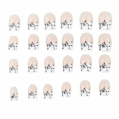 Set 24 Pieces Faux Ongles Manucure Decoration Papillon Wt