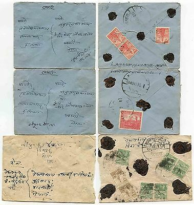 Nepal 1949 Temples Issues Franking+Black Seals 3 Covers