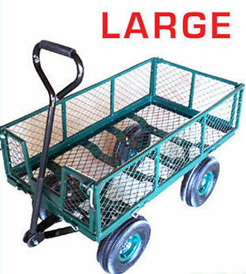 Large Metal 4 Wheel Garden Cart Trolley W / Drop Down Mesh Sides *special Offer*