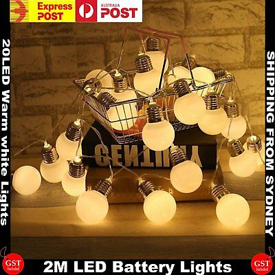 2X 2.2M 20LED Battery Operated Bulb String Fairy Lights Warm White Party Wedding