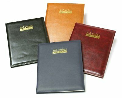 Executive Large A-Z Index Leather Cover Padded Address Book 25cm x 18.5cm
