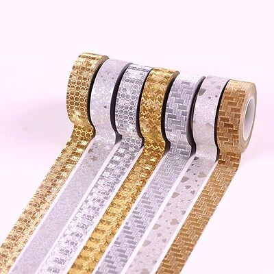 2 Roll 10M Glitter Silver Gold Washi Tape Paper Self Adhesive DIY Sticky Craft