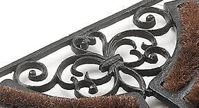 Orion Cast Iron Door Mat Welcome Mat With Brushes - Black Finish