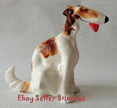 Borzoi Russian funny dog color red spots. Author's Porcelain figurine + Gift Boх