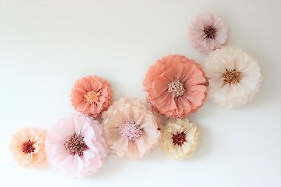 10 Medium tissue paper blooms. Baby shower decorations. Flower backdrop Wall.