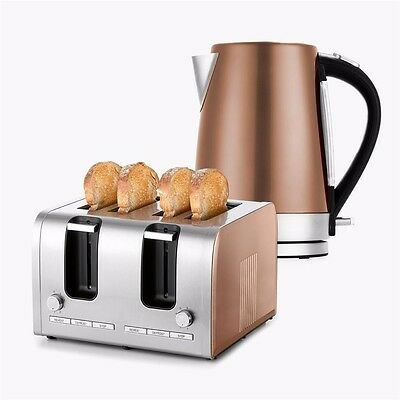 Modern Copper Colour 4 Slice Toaster + 1.7L Kettle 2100W-2200W Stainless Steel